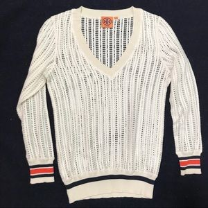 TORY BURCH cream crocheted knit v-neck sweater Sm